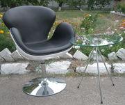 Дизайнерское кресло Сван в черно-белом цвете,  уценено