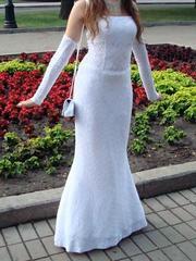 Белое платье для выпускного/свадьбы с перчатками,  500 грн. Размер 44-46. Возможна примерка