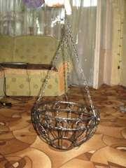 Кашпо подвесное, металлическое с орнаментом