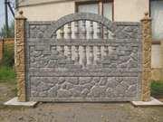Еврозаборы глянцевые,  цветные (мрамор из бетона),  металлоизделия